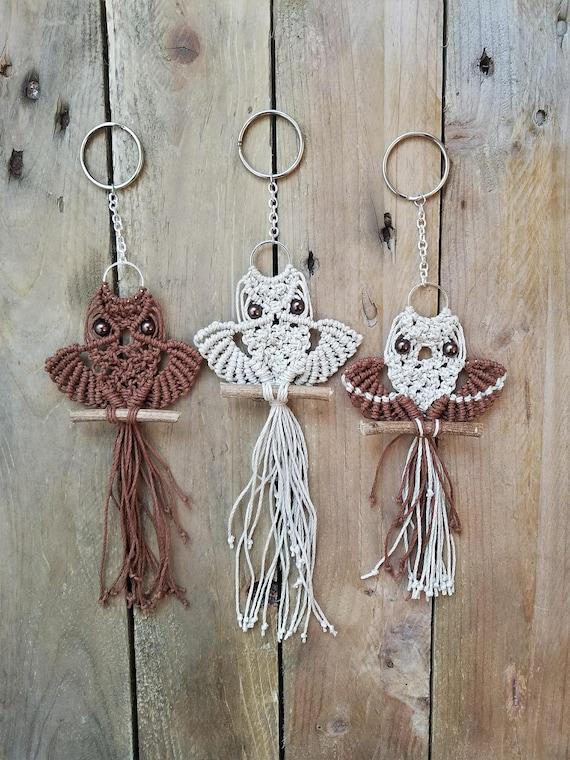 Macrame owl keychain, Purse charm, Boho keychain, Macrame accessories, Handmade keychain, Bag charm