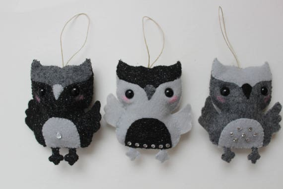 Set of Three Sparkly Grey and Black Owl Felt Ornaments, Owl keychains, Felt toy, Christmas gift, tree ornament, Nursery decor