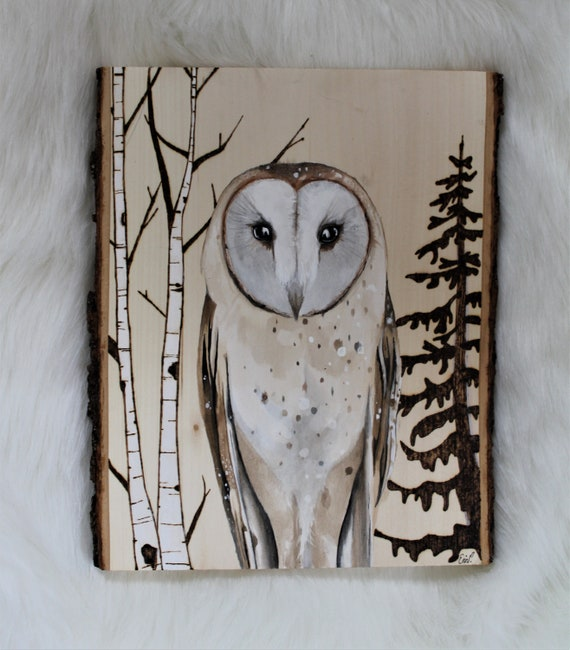 Handpainted Wood burned Owl, Barn owl art, Painting on wood slice, Wooden decor, Wall hanging, Rustic home decor, Owl gift