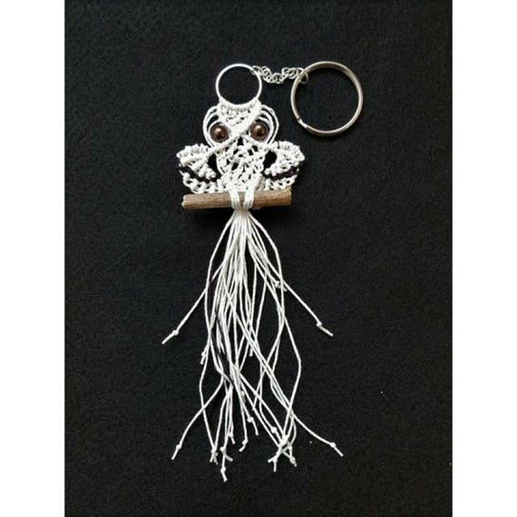 Macrame snowy owl keychain, Purse charm, Macrame accessories, Handmade keychain, Bag charm