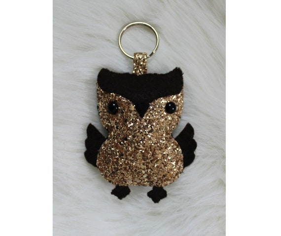 Glam owl keychain, Owl ornament, Gold glitter keychain, Sparkly accessory, Owl gift, Purse charm, Party favor