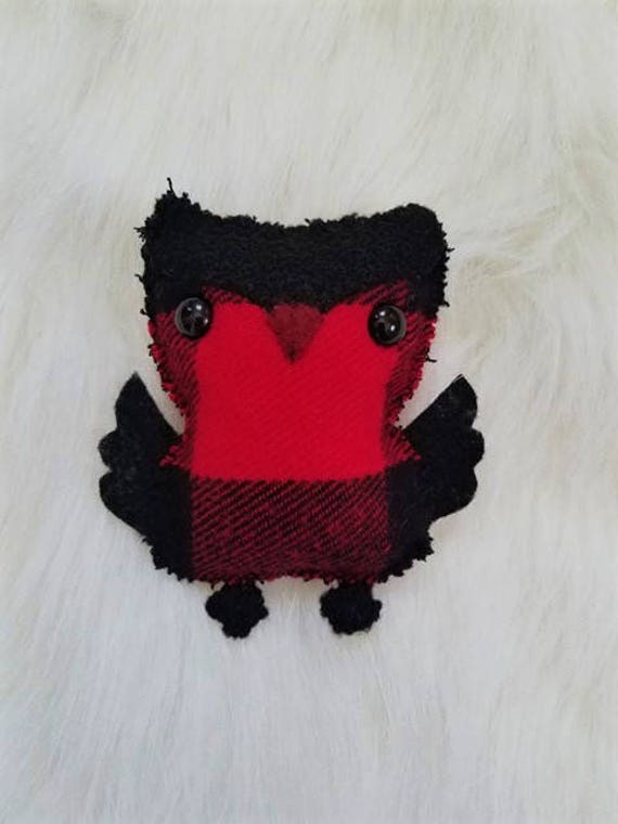 Buffalo Plaid Owl Ornament, Owl keychain, Christmas ornaments, Owl plushie, tree ornament, handmade ornament, Christmas decoration