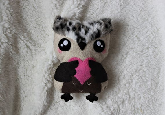 Large valentine heart owl, Owl Plushie, Stuffed owl, Gift for her, Gift for girl, Handmade owl stuffed animal, Felt owl, Girlfriend gift