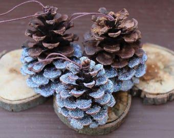Set of Three Glitter Dipped Cinnamon Pine Cone Ornaments, Woodland Ornaments, Glitter Ornaments, Christmas Decor, Rustic Decor
