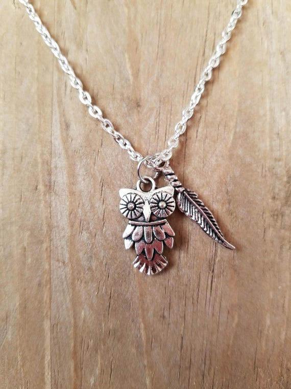 Silver owl and feather necklace, Owl jewelry, Feather jewelry, Handmade necklace, Boho jewelry