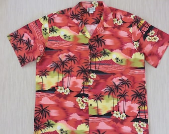 f866d1df Hawaiian Shirt Men ALOHA REPUBLIC Vintage Hawaii Sunset Summer Beach Shirt  Rockin' Party Shirt 100% Cotton Camp - XL- Oahu Lew's Shirt Shack
