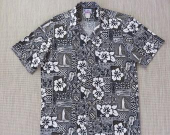 e1f3db343 Hawaiian Shirt HAWAII Brand Ukulele Aloha Shirt Tribal Hibiscus Outrigger  Mosaic Print 100% Cotton Mens Camp - L - Oahu Lew's Shirt Shack