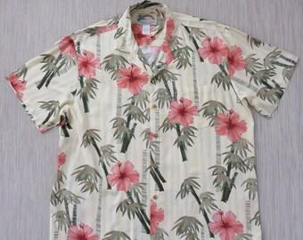 8e7af394 Mens Hawaiian Shirt PARADISE FOUND Hip Bamboo Hibiscus Flower Aloha Shirt  Tropical Island Print Party Camp Shirt - L- Oahu Lew's Shirt Shack