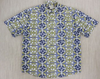 1538805b BANANA REPUBLIC Hawaiian Shirt Men Tropical Print Safari Travel Surfer  Aloha Shirt 100% Cotton Camp Casual Wear - L - Oahu Lew's Shirt Shack