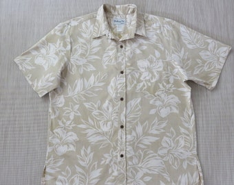 4e4925fd Hawaiian Shirt Men BISHOP ST Apparel Surfer Aloha Shirt Hibiscus Hawaii  Tropical Reverse Print 100% Cotton Camp - XL- Oahu Lew's Shirt Shack
