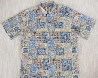 Mens Hawaiian Shirt TORI RICHARD Tropical Bohemian Modern Tribal Casual Beach Tiki 100% Cotton Resort Wear - 2XL - Oahu Lew's Shirt Shack