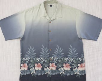 TOMMY BAHAMA Shirt Hawaiian Shirt Surfer Aloha Shirt Copyrighted Floral Print Resort Wear 100% Silk Mens Camp - XL - Oahu Lew's Shirt Shack