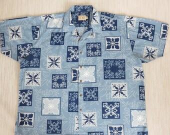 Mens Hawaiian Shirt EDDIE-D Island Inspired Tropical Tattoo Tribal Surfer Aloha Beach Bum Vintage Cotton Camp - 3XB - Oahu Lew's Shirt Shack