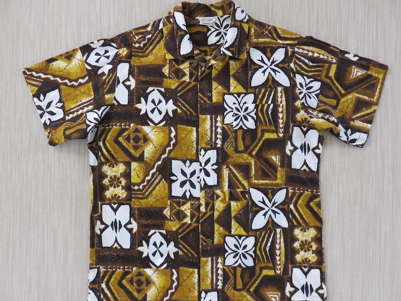 96812239 Vintage Hawaiian Shirt MADE IN HAWAII 60s Men Mod Tapa Aloha | Etsy