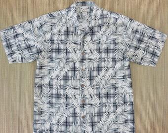 TOMMY BAHAMA Shirt Hawaiian Shirt Men Tropical Palm Print on Plaid Surfer Resort Wear 100% Silk Camp Aloha Shirt - S- Oahu Lew's Shirt Shack
