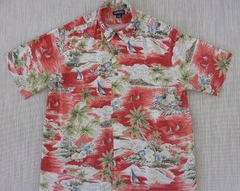 Hawaiian Shirt Men LANDS END Sailboats Sailing Aloha Shirt Tropical Island Resort Beach Wear Vintage Camp - XL - Oahu Lew's Shirt Shack