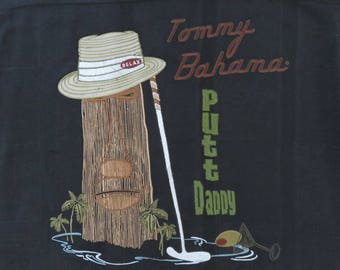 TOMMY BAHAMA Shirt Putt Daddy Tiki Golfer Black Embroidered Silk Shirt Copyrighted Golf Shirt Relax Fit Mens - XL - Oahu Lew's Shirt Shack