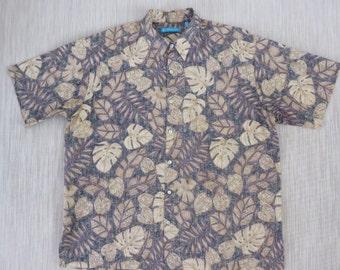Vintage Hawaiian Shirt TORI RICHARD Tiki Aloha Shirt Philodendron Leaves Copyrighted Print 100% Cotton Mens  - XL - Oahu Lew's Shirt Shack
