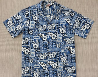 Mens Hawaiian Shirt EVERGREEN ISLAND Tiki Tropical Aloha Shirt Ukulele Turtle Mod Mosaic Tiles 100% Cotton Camp - L - Oahu Lew's Shirt Shack