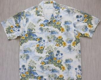 TOMMY BAHAMA Shirt Hawaiian Shirt Men Copyrighted Print Ukulele Island Princess Resort Wear 100% Silk Camp - L - Oahu Lew's Shirt Shack