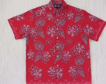 Hawaiian Shirt NORTH SHORE SURF Red Aloha Shirt Tropical Print Pop Art Flowers and Philodendron Leaves Mens - M - Oahu Lew's Shirt Shack