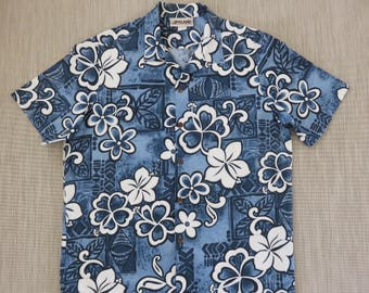 Hawaiian Shirt ISLAND ATTITUDES CrAzY Mod Surfer Hibiscus Flower Power Aloha Shirt 100% Cotton Vintage Men Camp - L - Oahu Lew's Shirt Shack