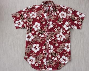 Hawaiian Shirt Men PINEAPPLE CrAzY Mod Surfer Hibiscus Flower Aloha Shirt 100% Cotton Modern Athletic Fit Camp - XL - Oahu Lew's Shirt Shack