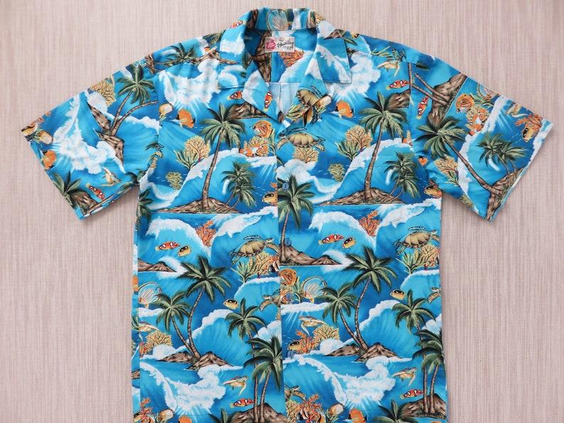 21571422 Fish Hawaiian Shirt HILO HATTIE Hawaii Turtle Aloha Shirt | Etsy