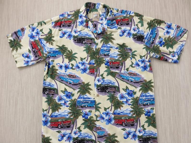 faf80e3d Hawaiian Shirt 1950s Vintage Chevy Car Shirt ISLAND COLLECTION | Etsy