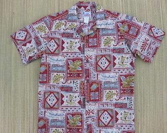 Hawaiian Shirt Men HAWAII Brand Aloha Shirt Vintage Tiki Tribal Turtles Outrigger Canoes Tropical Print Cotton - S - Oahu Lew's Shirt Shack
