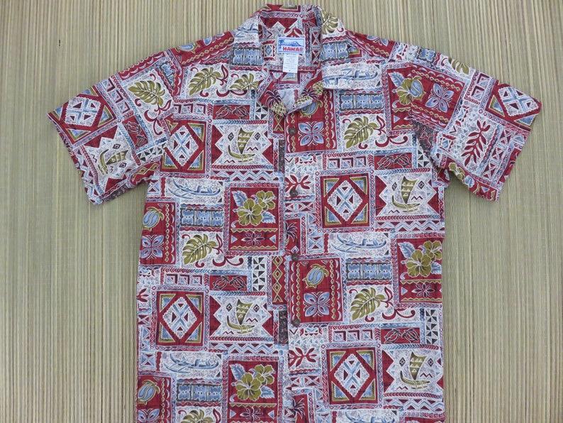 59b608802 Hawaiian Shirt Men HAWAII Brand Aloha Shirt Vintage Tiki   Etsy