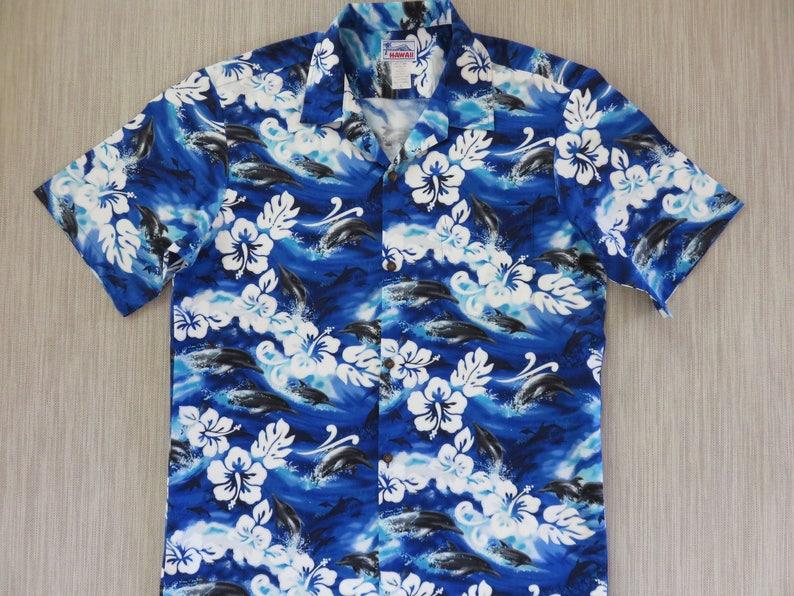 aefb634c Hawaiian Shirt Men HAWAII Brand Aloha Shirt FLIPPER Dolphin | Etsy