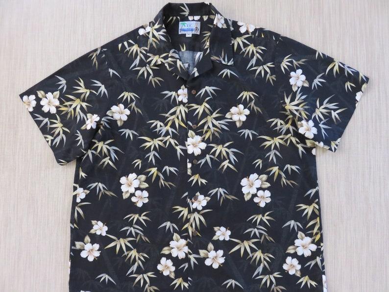 67958efc Black Hawaiian Shirt Men RJC Surfer Aloha Shirt Tropical | Etsy