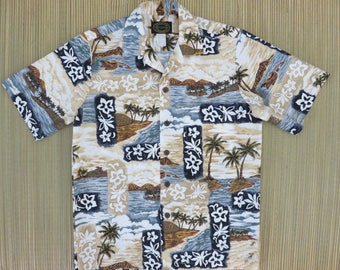Hawaiian Shirt Men HAWAIIAN RESERVE COLLECTION Surfer Scene Aloha Beach Party Shirt Vintage 100% Cotton Camp - S - Oahu Lew's Shirt Shack