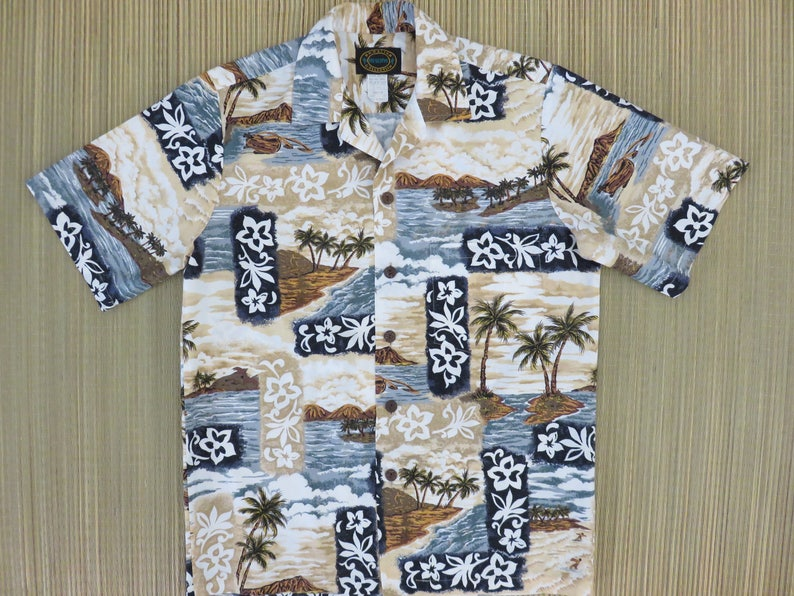 468a5c266 Hawaiian Shirt Men HAWAIIAN RESERVE COLLECTION Surfer Scene | Etsy