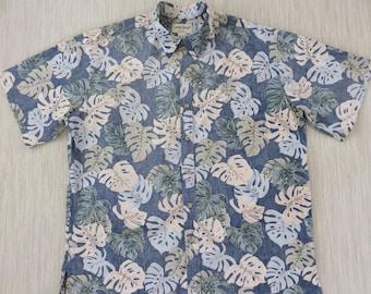 Hawaiian Shirt Men COOKE STREET Copyrighted Jungle Reverse Print Aloha Shirt Tropical Leaves 100% Cotton Camp - 2XL - Oahu Lew's Shirt Shack