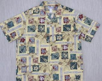 Hawaiian Shirt Men ALOHA LINE Ukulele Aloha Shirt Vintage Tiki Tribal Surfer Tropical Print 100% Cotton Camp - XL - Oahu Lew's Shirt Shack