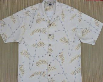 TOMMY BAHAMA Hawaiian Shirt Vintage Aloha Shirt Bamboo Tropical Print Surfer Resort Wear 100% Silk Camp Mens - M - Oahu Lew's Shirt Shack