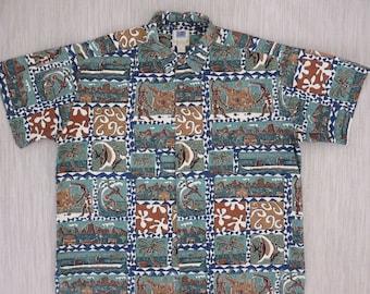 Hawaiian Shirt Men KAHALA AVi Collection Surfer Fishing Tribal Tiki Vintage Aloha Polynesian 100% Cotton Camp - 2XL - Oahu Lew's Shirt Shack