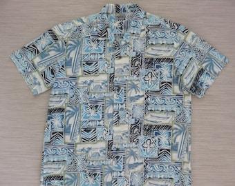 Hawaiian Shirt Men ROYAL CREATIONS Surfer Aloha Shirt Surfboard Outrigger Canoe Tiki Tribal Vintage Camp - XL - Oahu Lew's Shirt Shack
