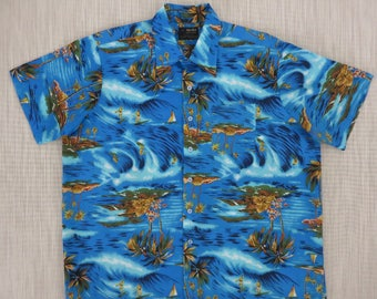 Vintage Hawaiian Shirt 70s VAN CORT Surfer Shirt Aloha Shirt Beach Boy Surfin Paradise Tropical Print Mens - XL - Oahu Lew's Shirt Shack