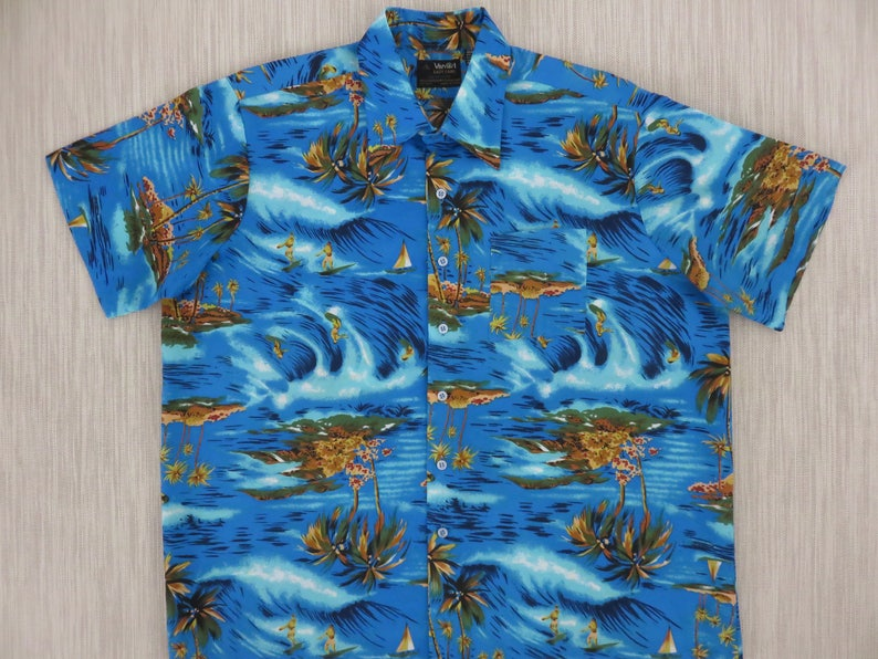 203099790 Vintage Hawaiian Shirt 70s VAN CORT Surfer Shirt Aloha Shirt