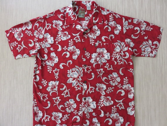 8a7371f6 Red Hawaiian Shirt PINEAPPLE CONNECTION Mod Surfer Hibiscus   Etsy