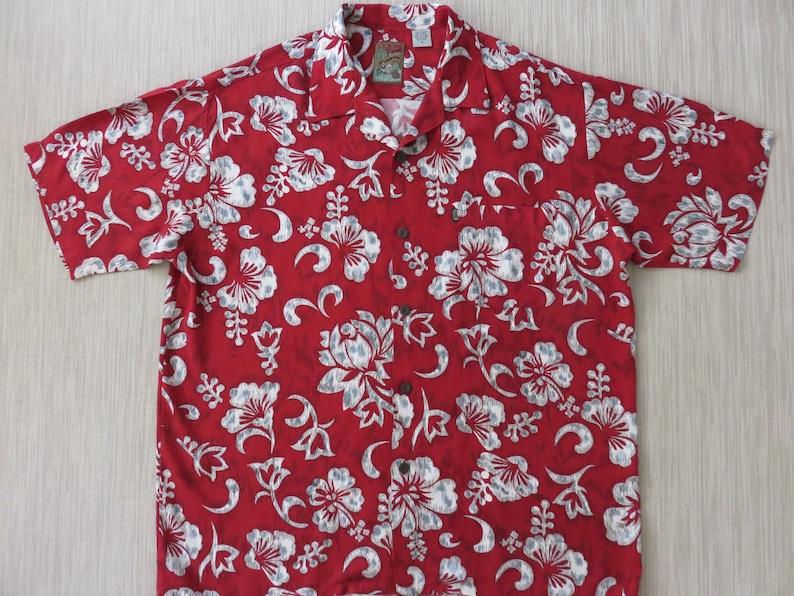 e0e6d2dcbc Red Hawaiian Shirt PINEAPPLE CONNECTION Mod Surfer Hibiscus