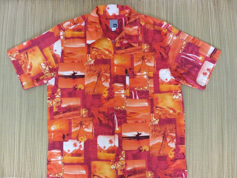 bb9cbd093b Mens Hawaiian Shirt QUIKSILVER 70s Orange Vintage Surf Photos Endless  Summer Sunset Beach California Surfboard - L - Oahu Lew's Shirt Shack