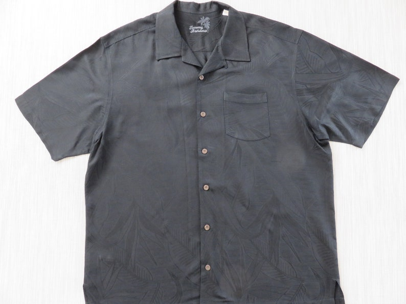 718883e9 TOMMY BAHAMA Shirt Black Hawaiian Shirt Luxurious 100% Silk | Etsy