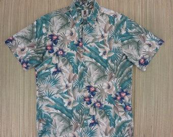 Hawaiian Shirt TORI RICHARD Honolulu Hawaii Tropical Rain Forest Print Aloha Shirt Floral Mens 100% Cotton Camp - M - Oahu Lew's Shirt Shack