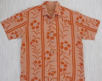 TOMMY BAHAMA Shirt Mens Hawaiian Shirt Blanket Flower Power Mod Lei Copyrighted Floral Design Aloha Shirt Camp - L - Oahu Lew's Shirt Shack