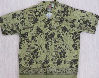 Hawaiian Shirt PINEAPPLE CONNECTION Hibiscus Flower Power Camouflage Green Crazy Mod Vintage Mens Camp - L - Oahu Lew's Shirt Shack
