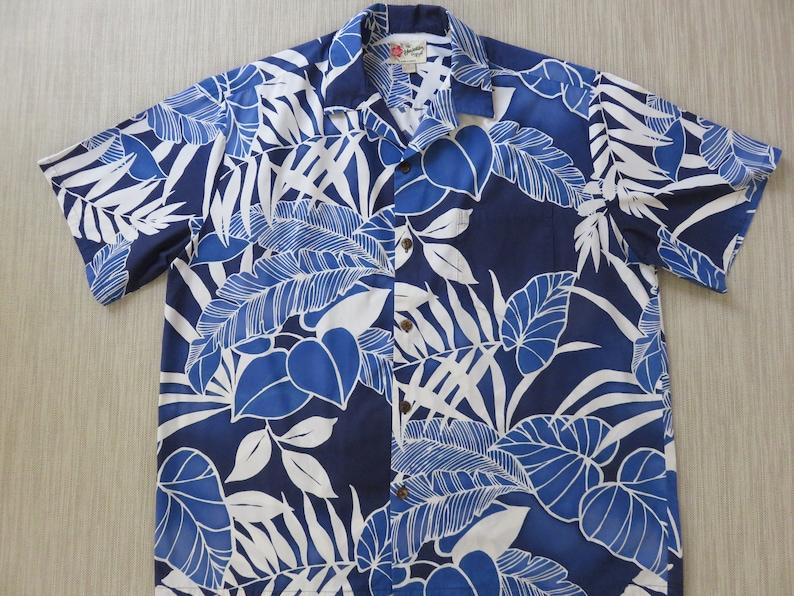 9e4f51ba Mens Hawaiian Shirt HILO HATTIE Bold Blue Aloha Shirt Trippy | Etsy